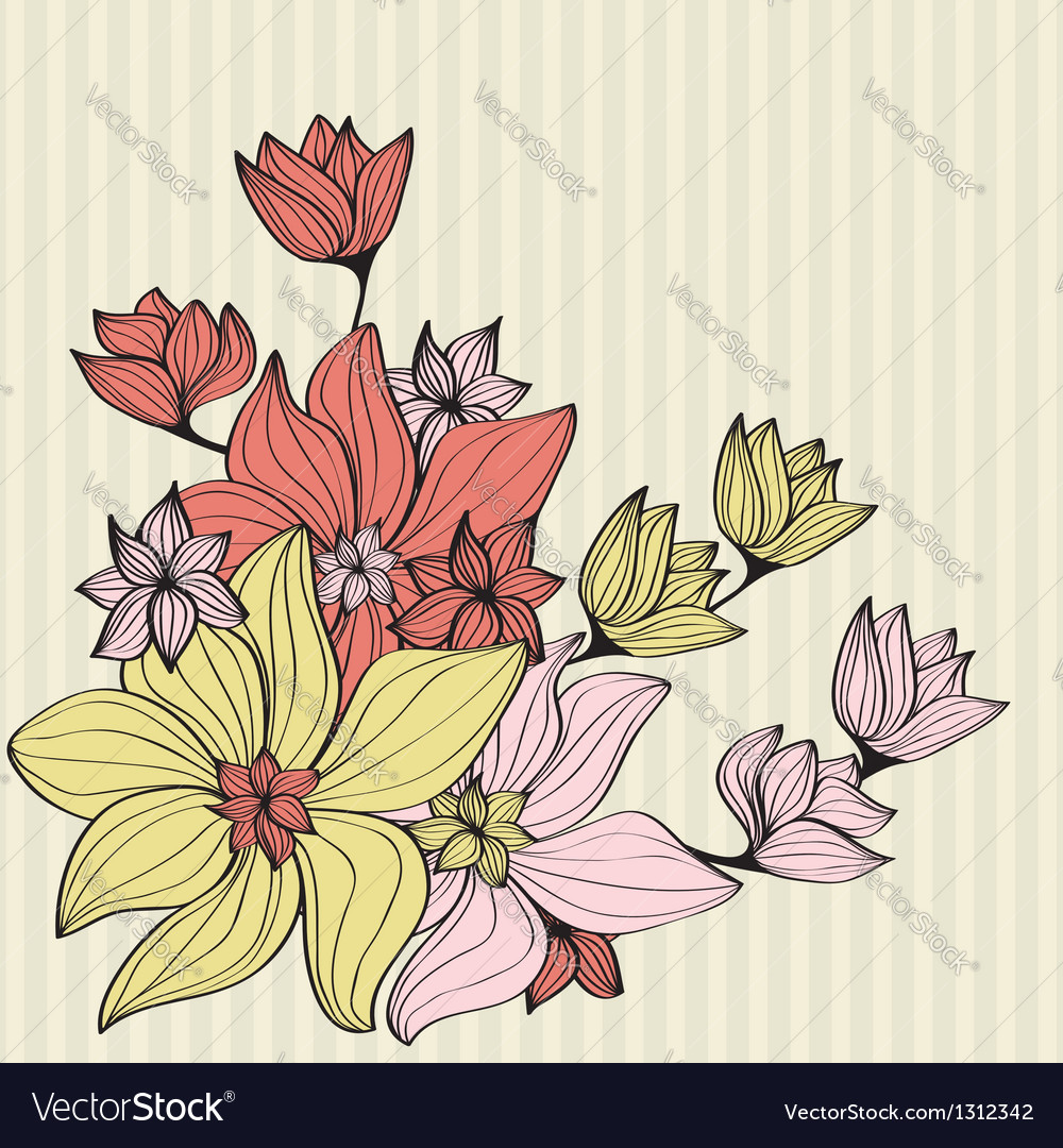 Vintage flowers in muted shades vector | Price: 1 Credit (USD $1)
