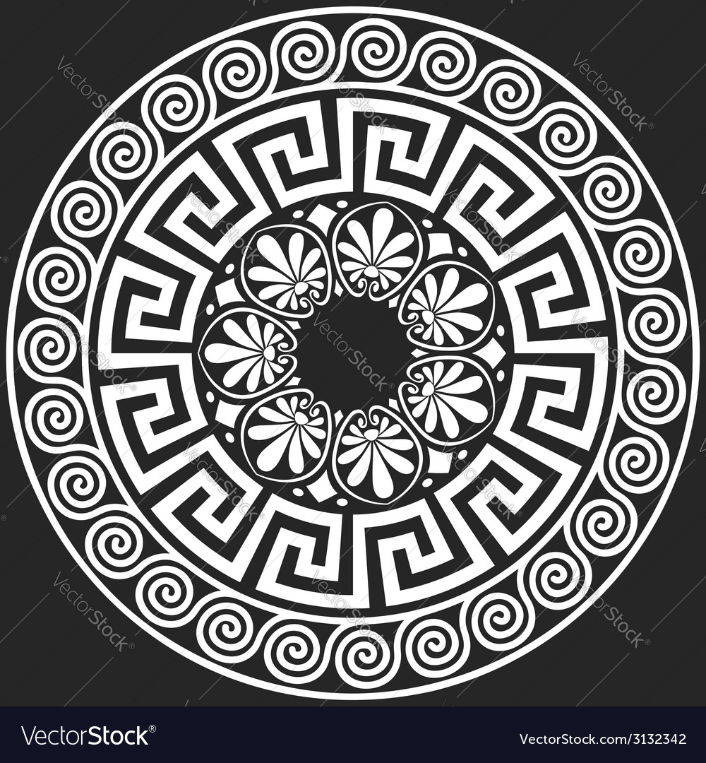 White greek ornament meander on a black background vector | Price: 1 Credit (USD $1)