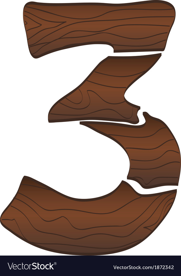 Wood numbers 3 isolated on the white3 vector | Price: 1 Credit (USD $1)