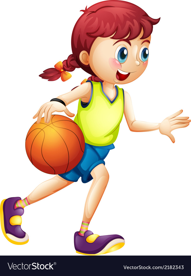 A young girl playing basketball vector | Price: 1 Credit (USD $1)