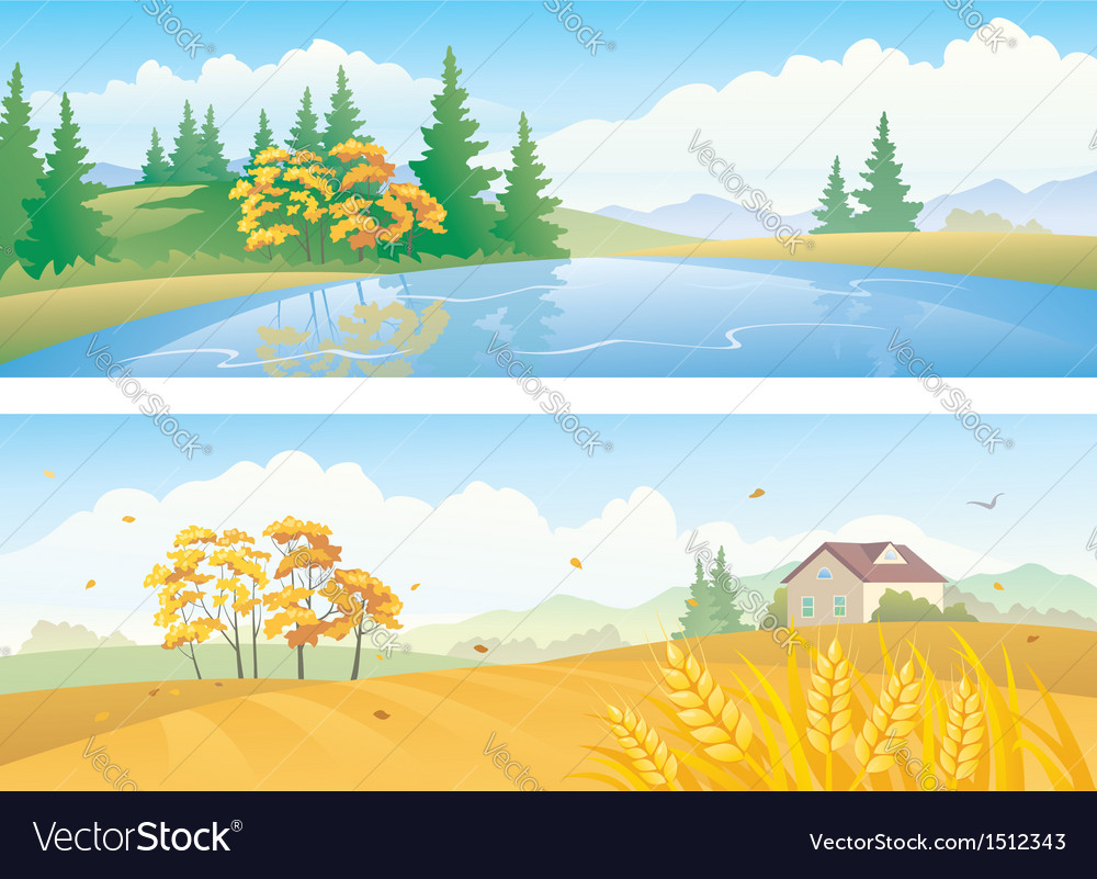Autumn landscape banners vector | Price: 3 Credit (USD $3)