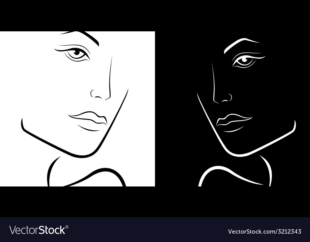 Black and white female laconic heads outline vector | Price: 1 Credit (USD $1)