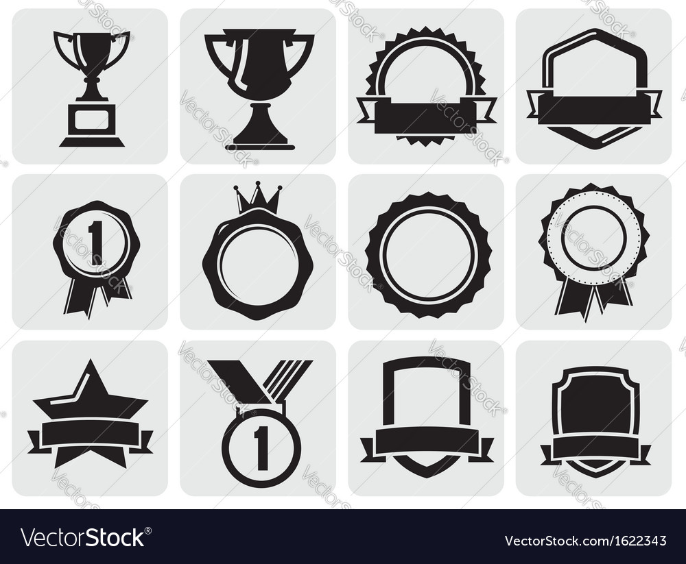 Black award set vector | Price: 1 Credit (USD $1)