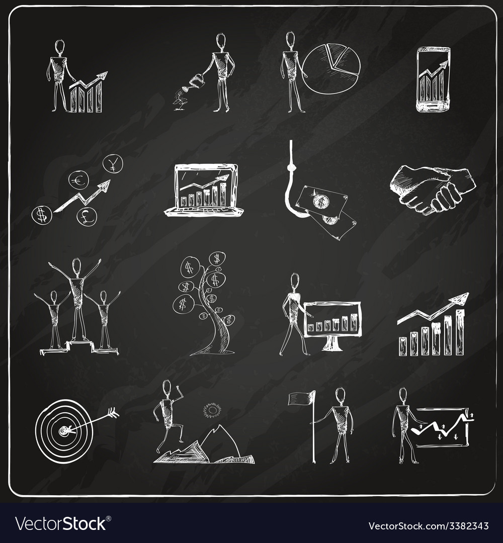 Business doodle chalkboard vector | Price: 1 Credit (USD $1)