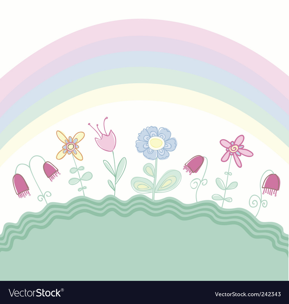 Childlike floral background vector | Price: 1 Credit (USD $1)
