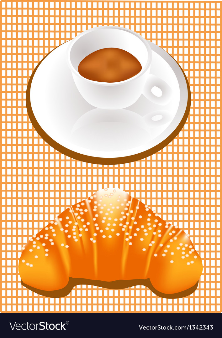 Coffee and croissants vector | Price: 1 Credit (USD $1)