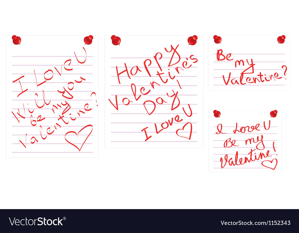 Day of valentine notes vector | Price: 1 Credit (USD $1)