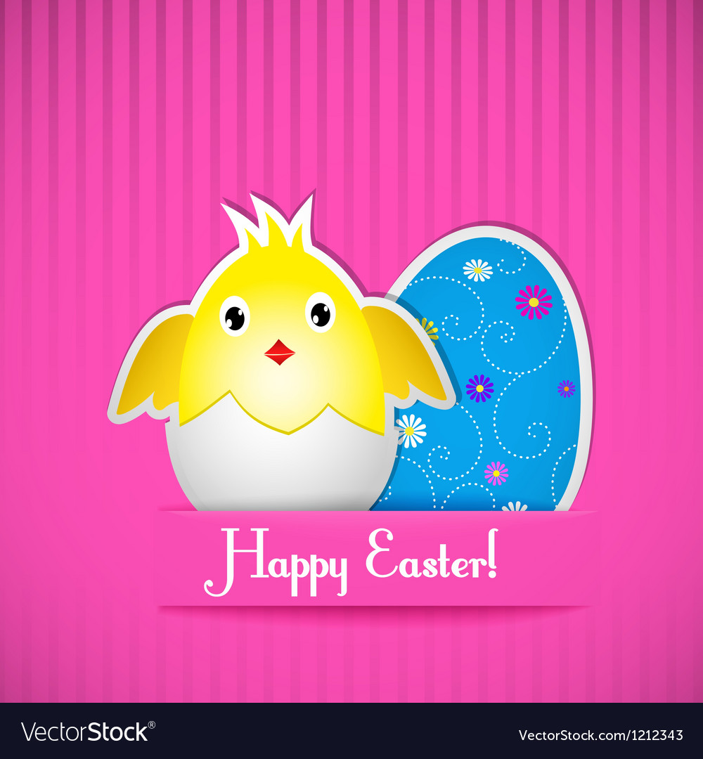 Easter card with chicken and egg vector | Price: 1 Credit (USD $1)