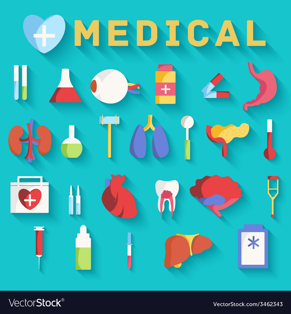Flat medicine equipment set icon concept on vector | Price: 1 Credit (USD $1)