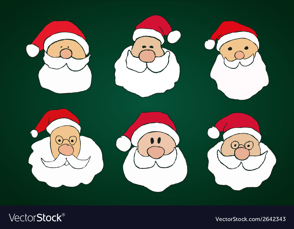 Funny hand drawn santa clauses set on dark green vector | Price: 1 Credit (USD $1)