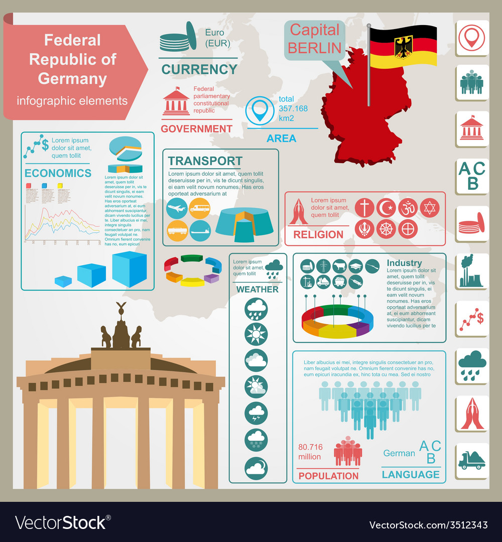 Germany infographics statistical data sights vector | Price: 1 Credit (USD $1)