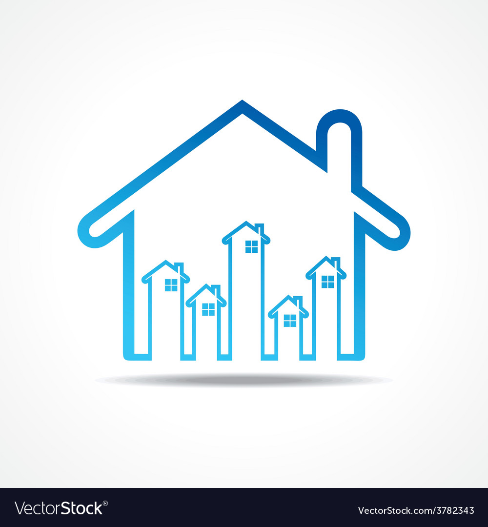 Group of up homes in the home vector | Price: 1 Credit (USD $1)