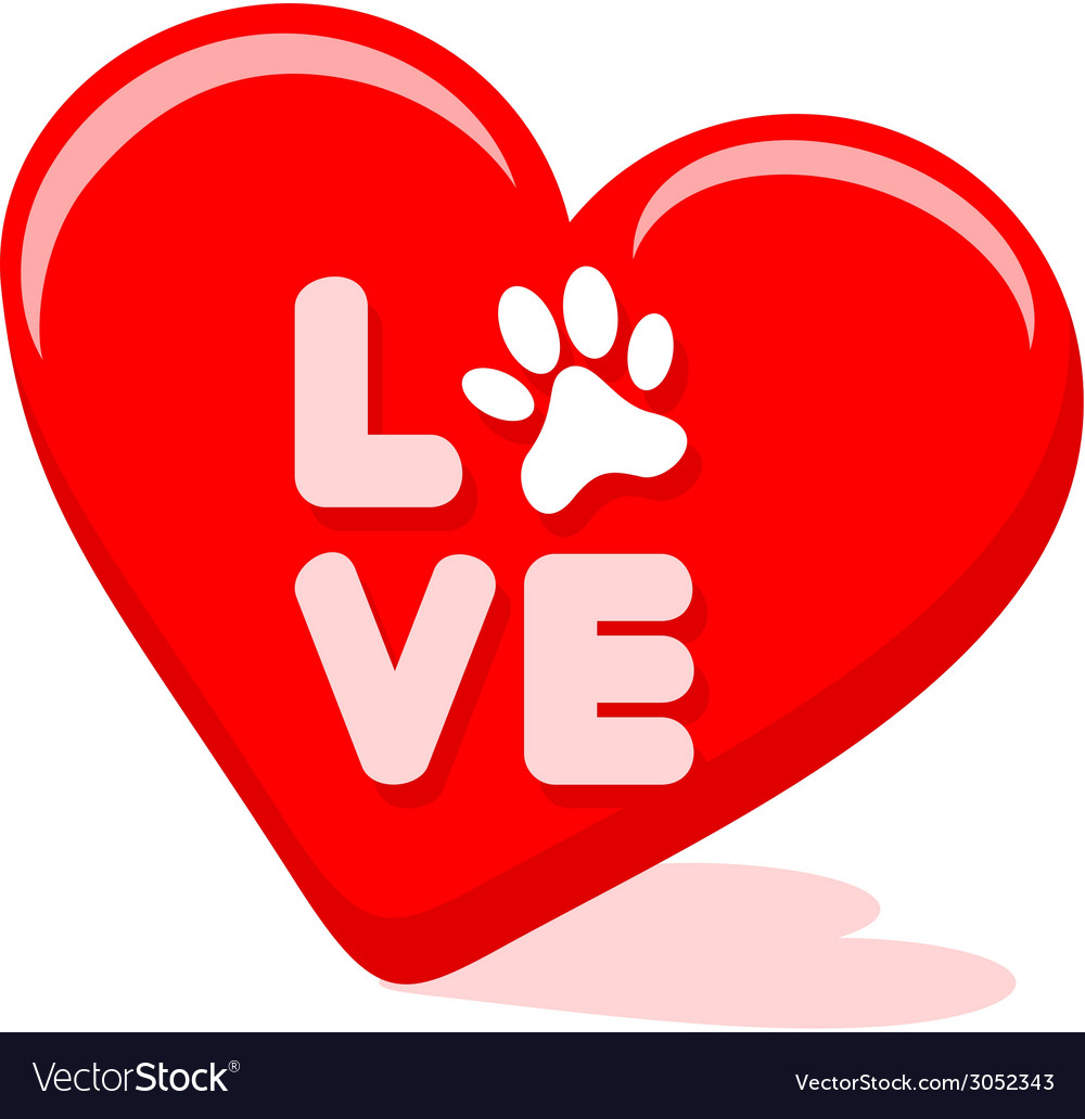 Love symbol with pet paw in a hart shape vector | Price: 1 Credit (USD $1)