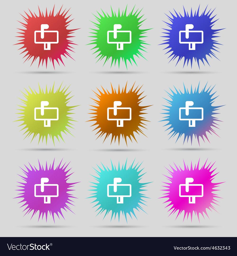 Mailbox icon sign a set of nine original needle vector   Price: 1 Credit (USD $1)