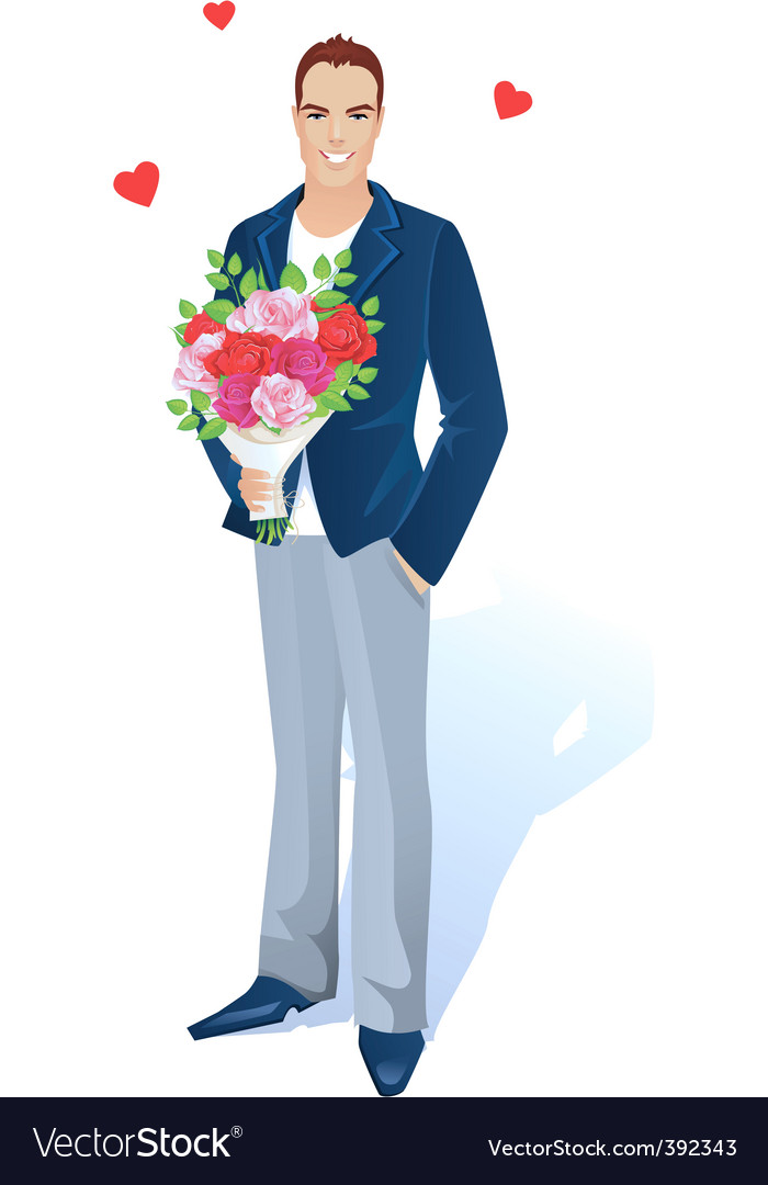 Man with bouquet vector | Price: 3 Credit (USD $3)