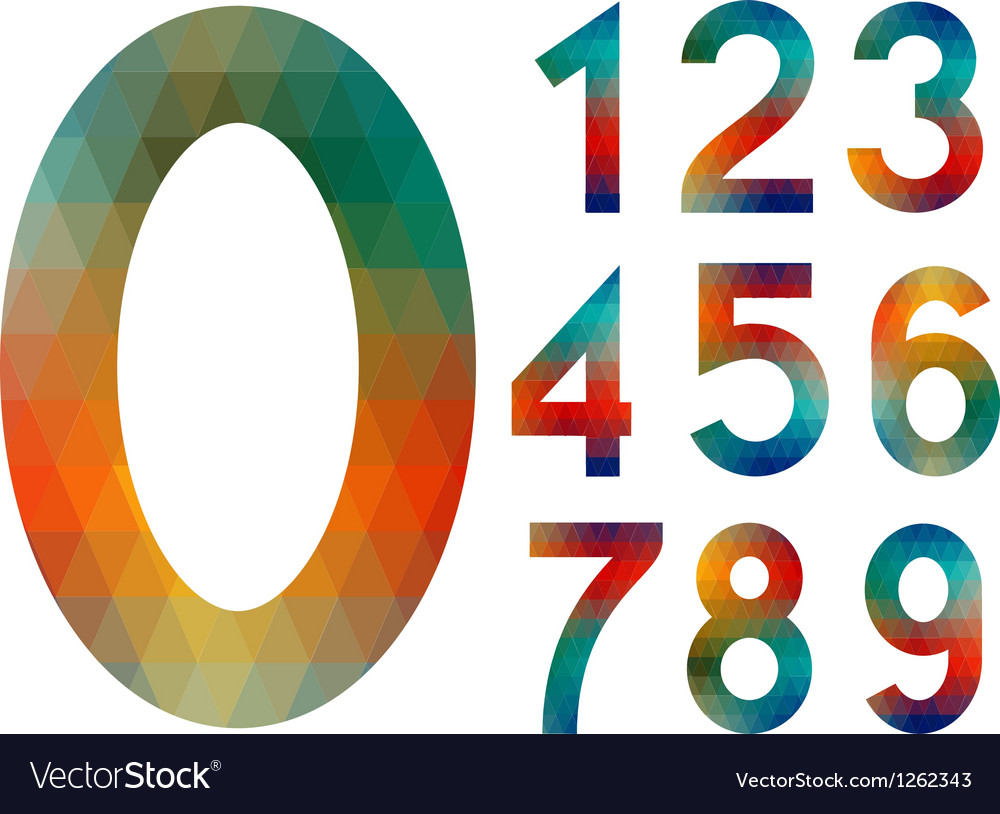 Mosaic number set vector | Price: 1 Credit (USD $1)