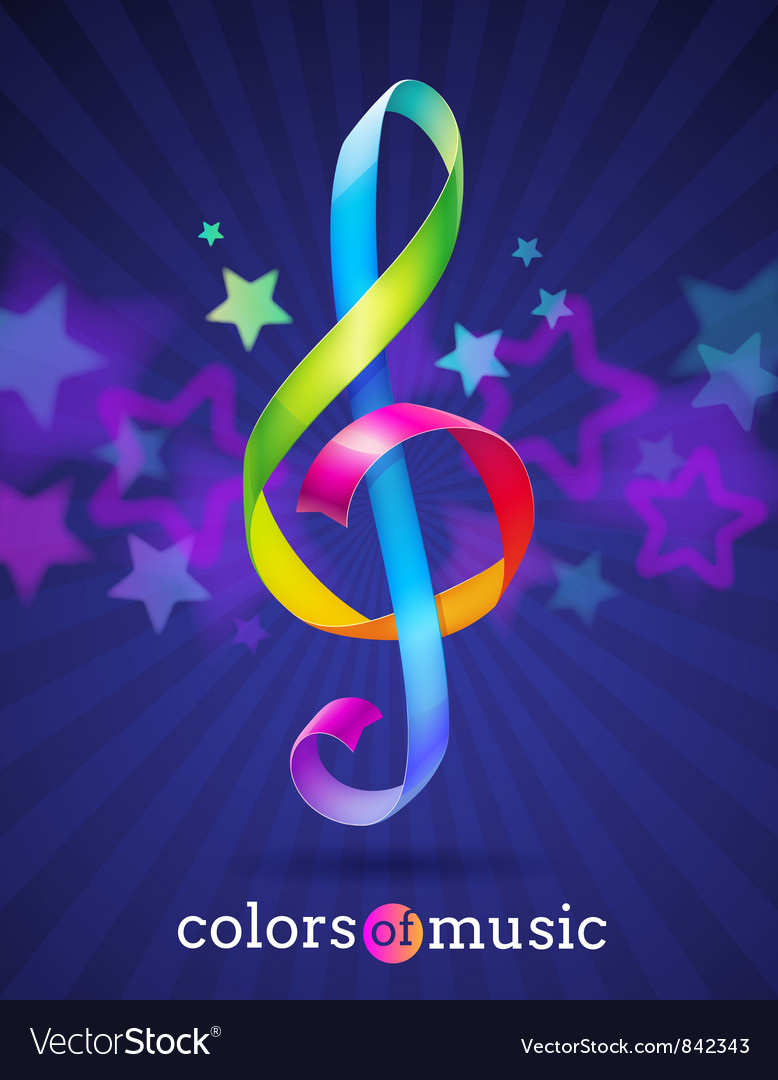 Multicolored ribbons in the shape of treble clef vector | Price: 1 Credit (USD $1)