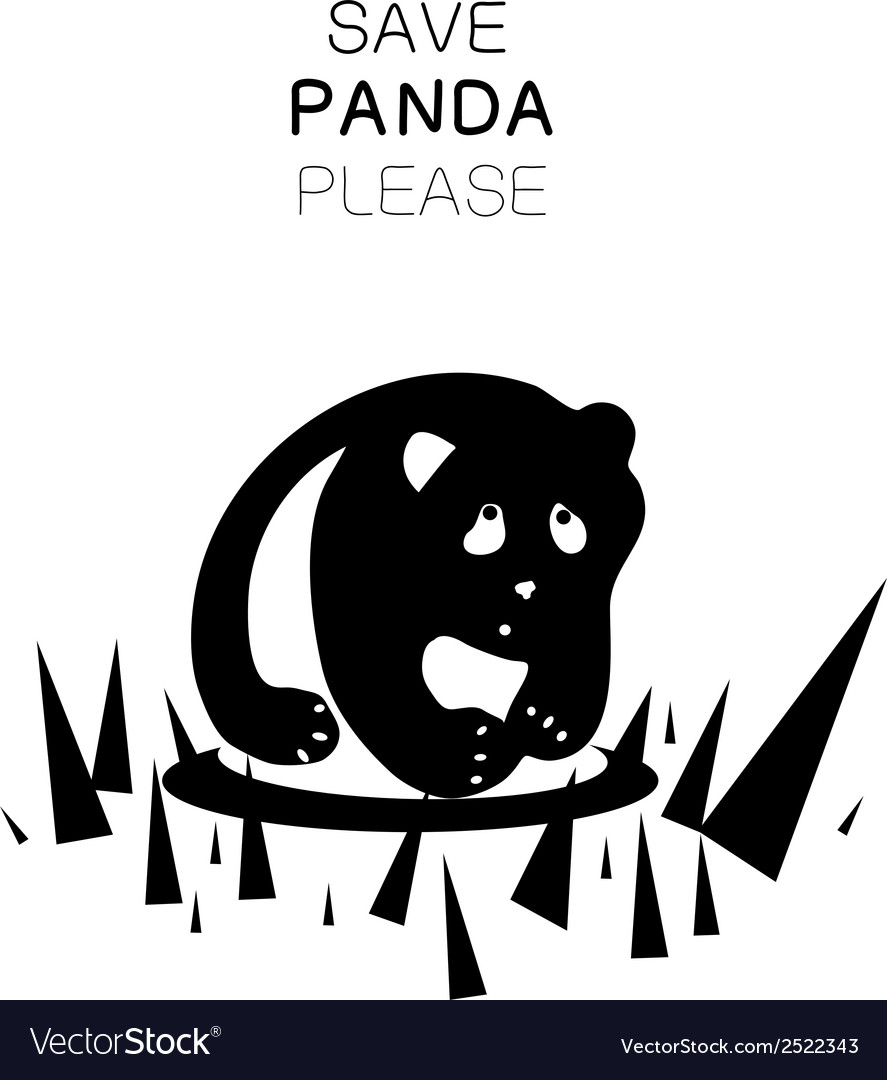 Panda silhouette and slogan vector | Price: 1 Credit (USD $1)