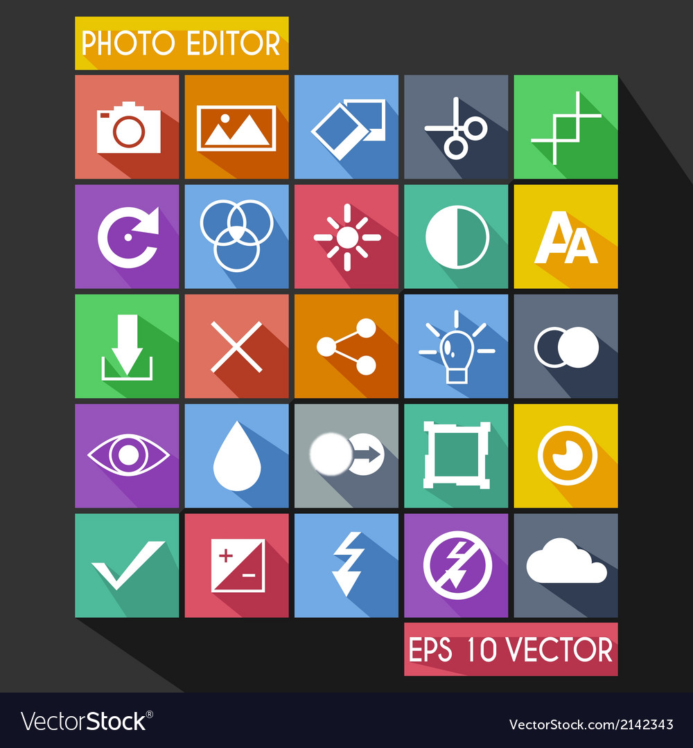 Photo editor flat icon long shadow vector | Price: 1 Credit (USD $1)