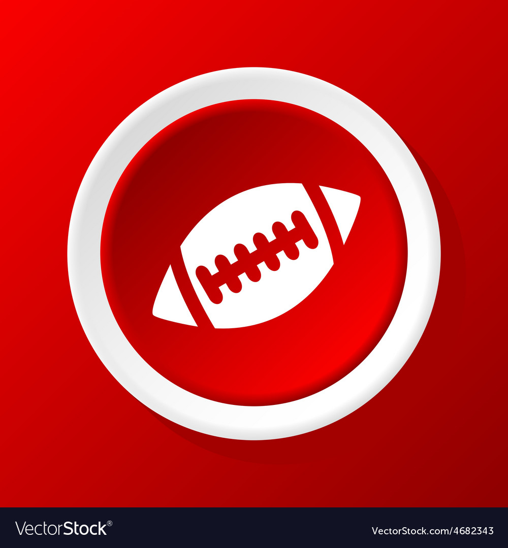 Rugby ball icon on red vector | Price: 1 Credit (USD $1)