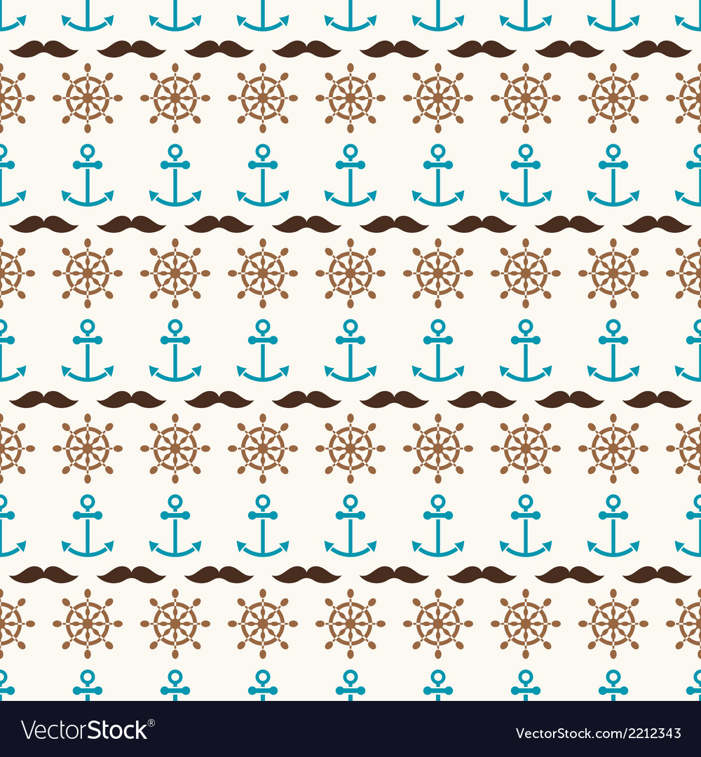 Seamless pattern of anchors wheels and mustache vector | Price: 1 Credit (USD $1)
