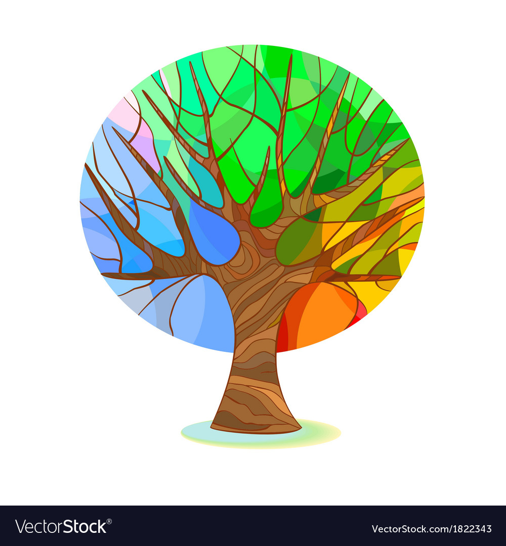 Stylized tree - four seasons vector | Price: 1 Credit (USD $1)