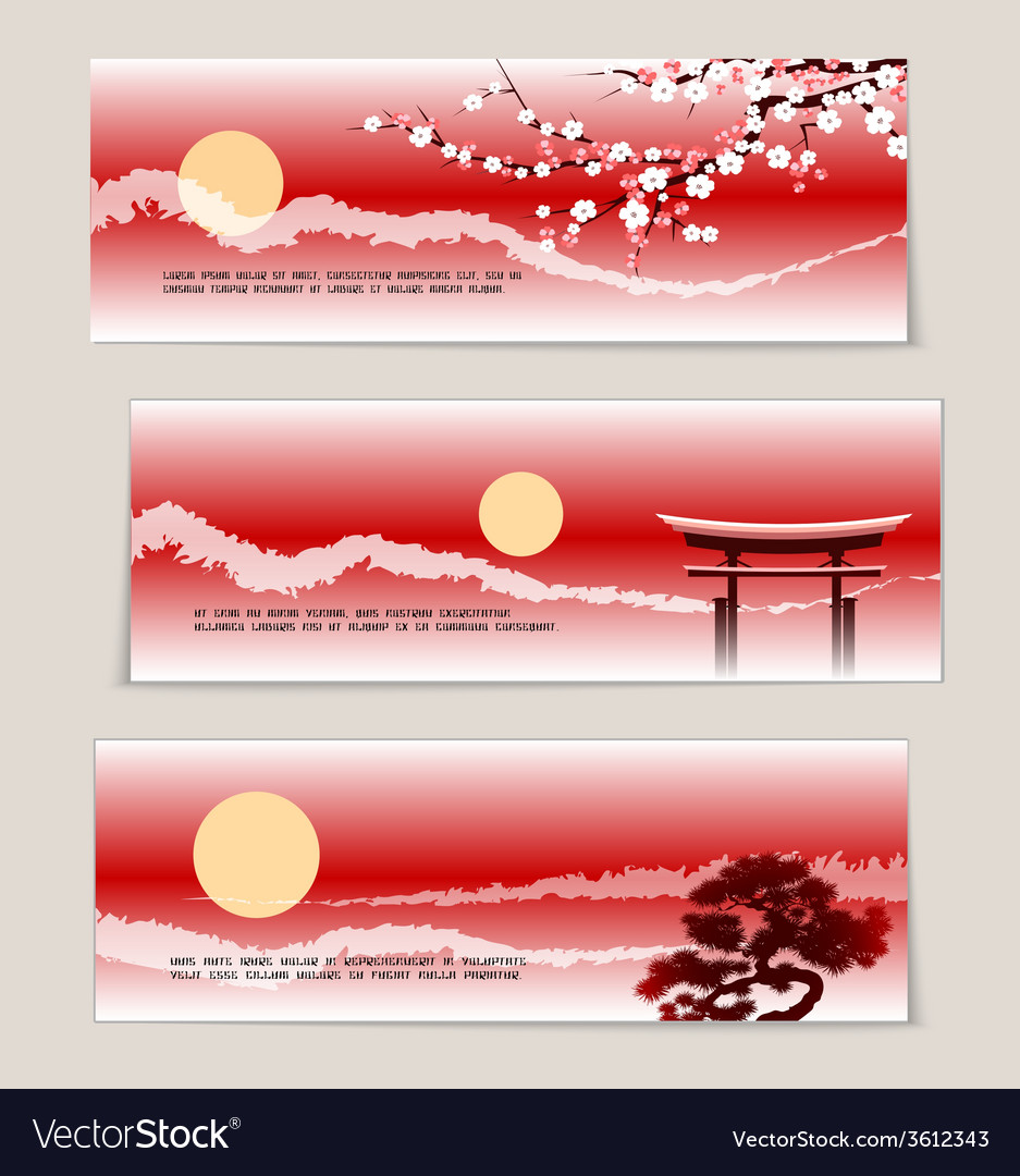 Three japanese landscape banners vector | Price: 1 Credit (USD $1)