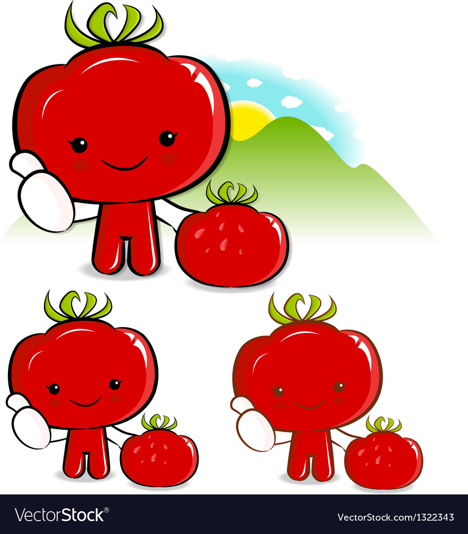 Tomato characters to promote vegetable selling vector | Price: 1 Credit (USD $1)