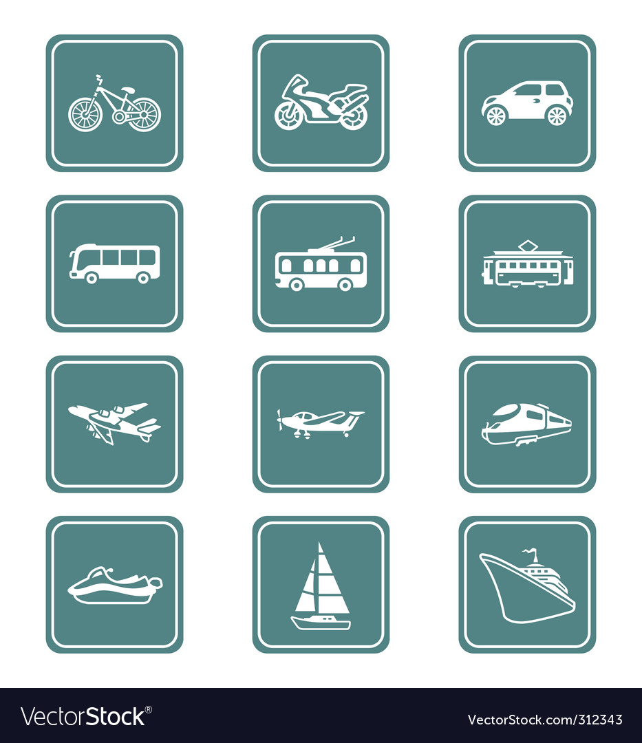 Transportation icons | teal series vector | Price: 1 Credit (USD $1)