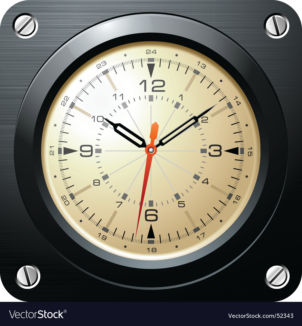 Vintage military airplane clock vector | Price: 3 Credit (USD $3)
