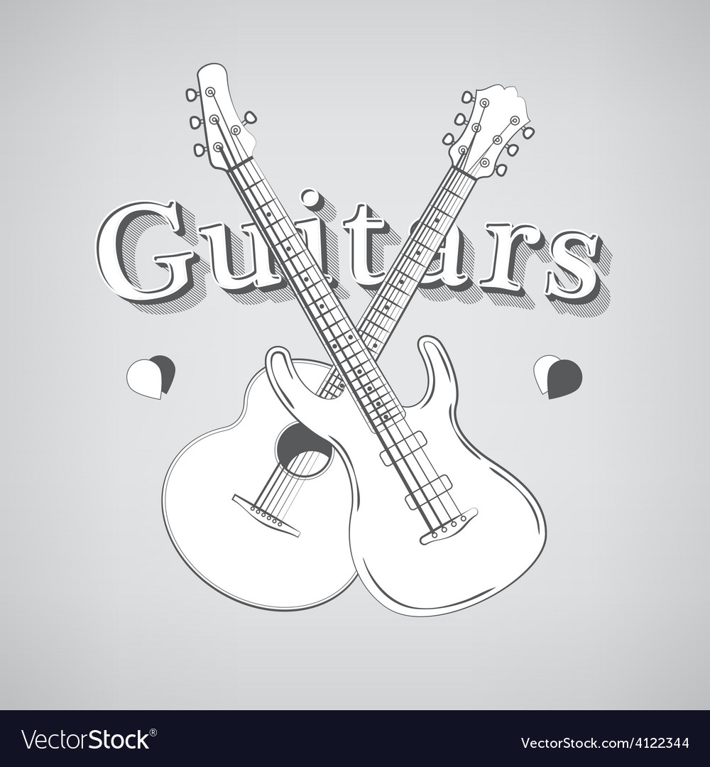 Acoustic and bass guitars vector | Price: 1 Credit (USD $1)