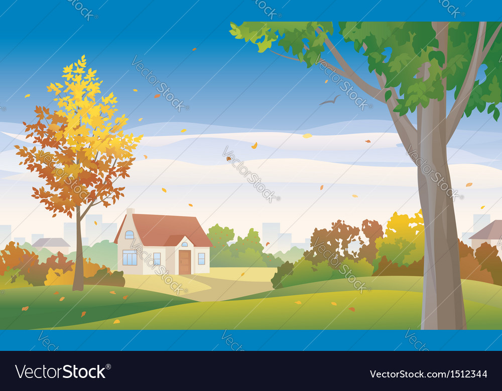 Autumn suburb vector | Price: 1 Credit (USD $1)