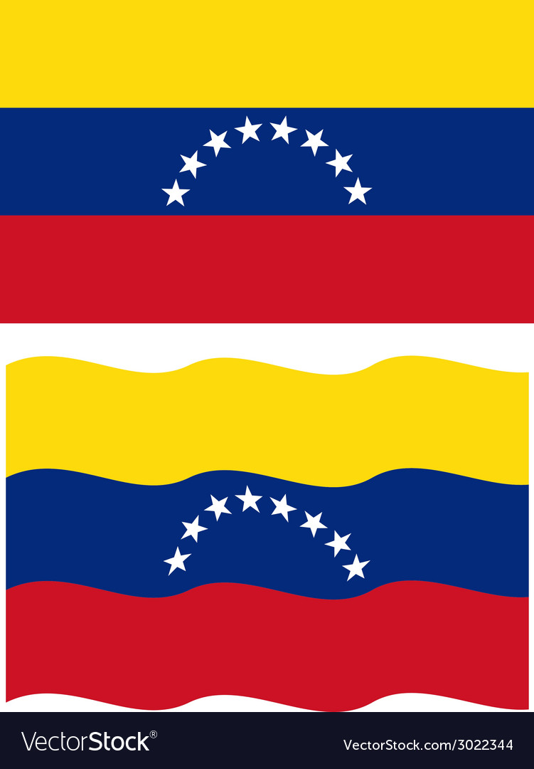 Flat and waving venezuelan flag vector | Price: 1 Credit (USD $1)