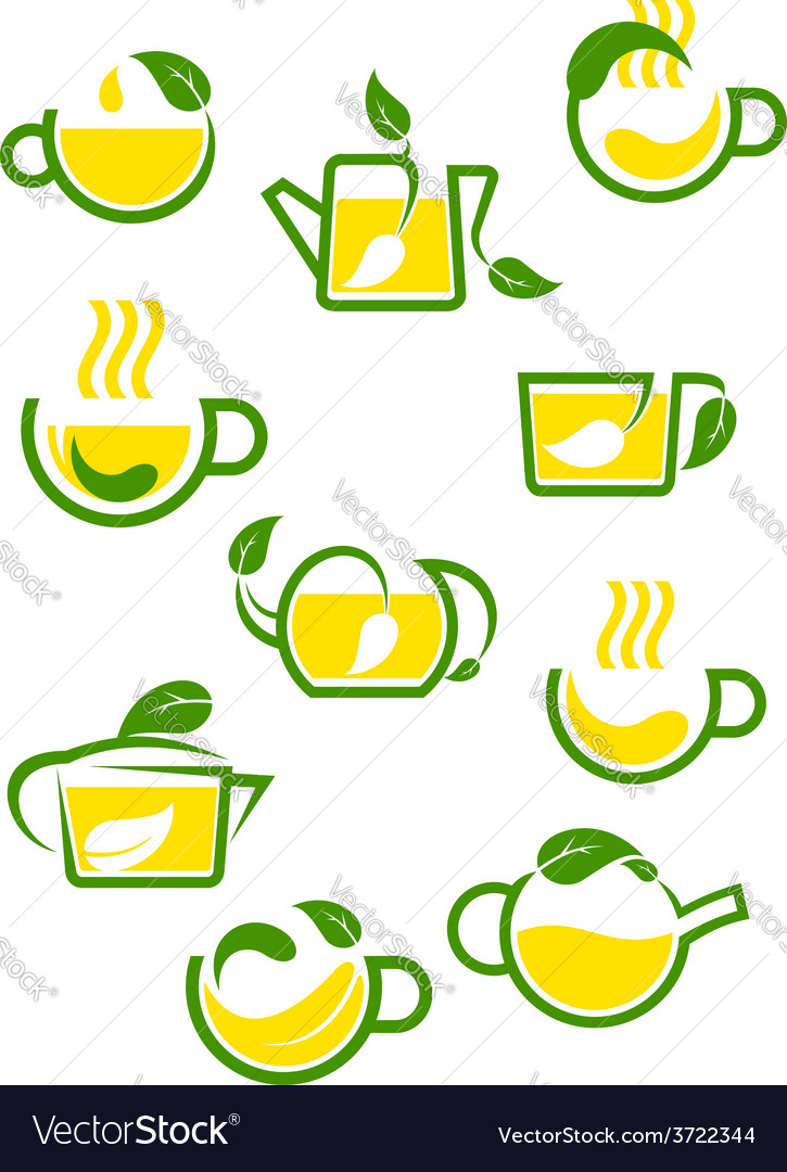 Green or herbal tea icons vector | Price: 1 Credit (USD $1)