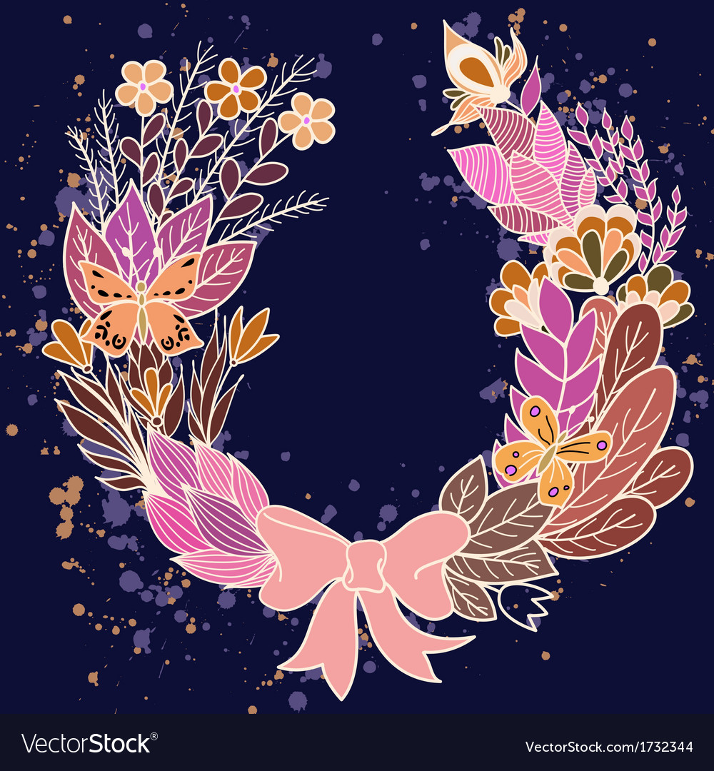 Handdrawn floral wreath with purple flowers vector | Price: 1 Credit (USD $1)