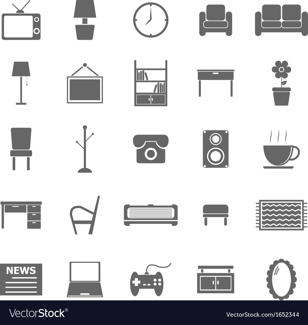 Living room icons on white background vector | Price: 1 Credit (USD $1)