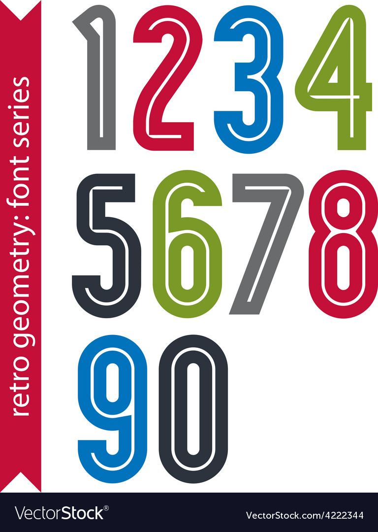 Multicolored poster classic style rounded numbers vector | Price: 1 Credit (USD $1)