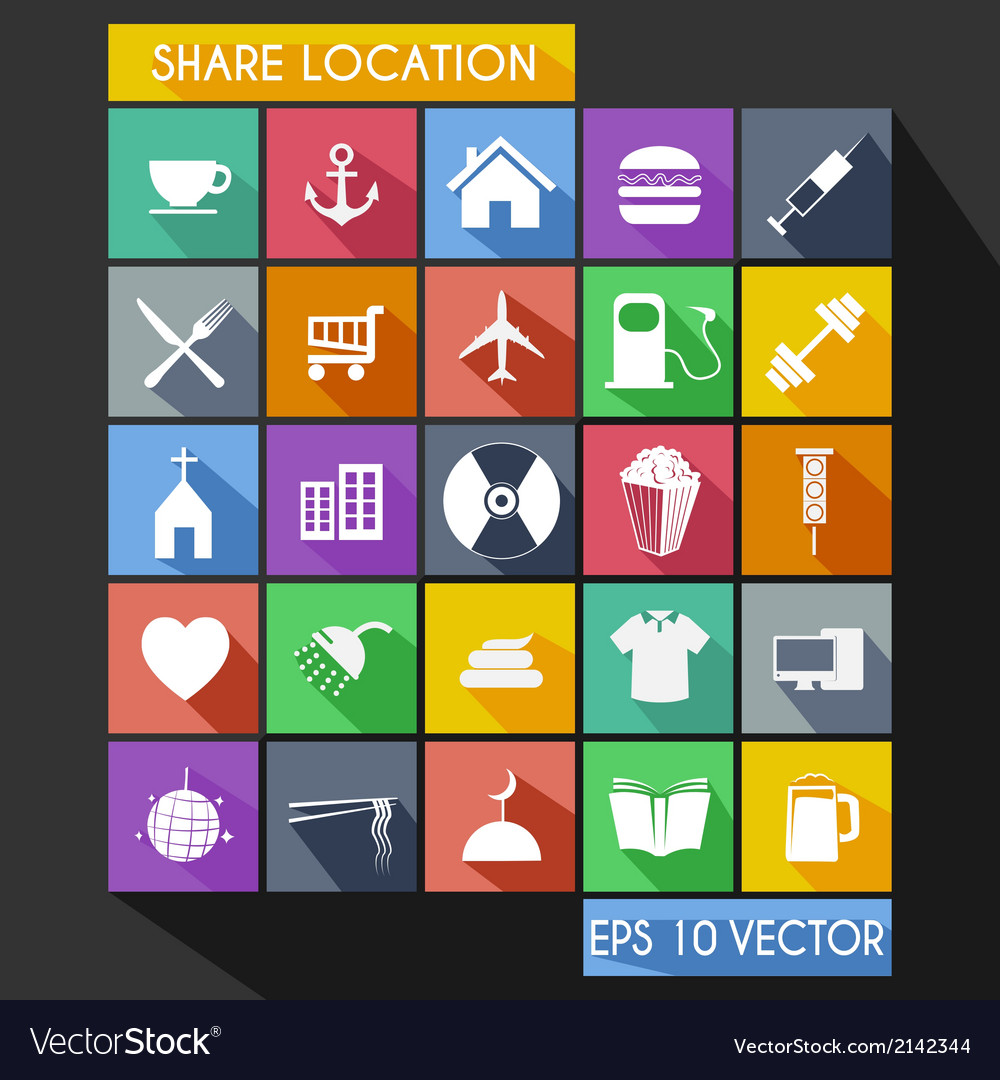Shared location flat icon long shadow vector | Price: 1 Credit (USD $1)