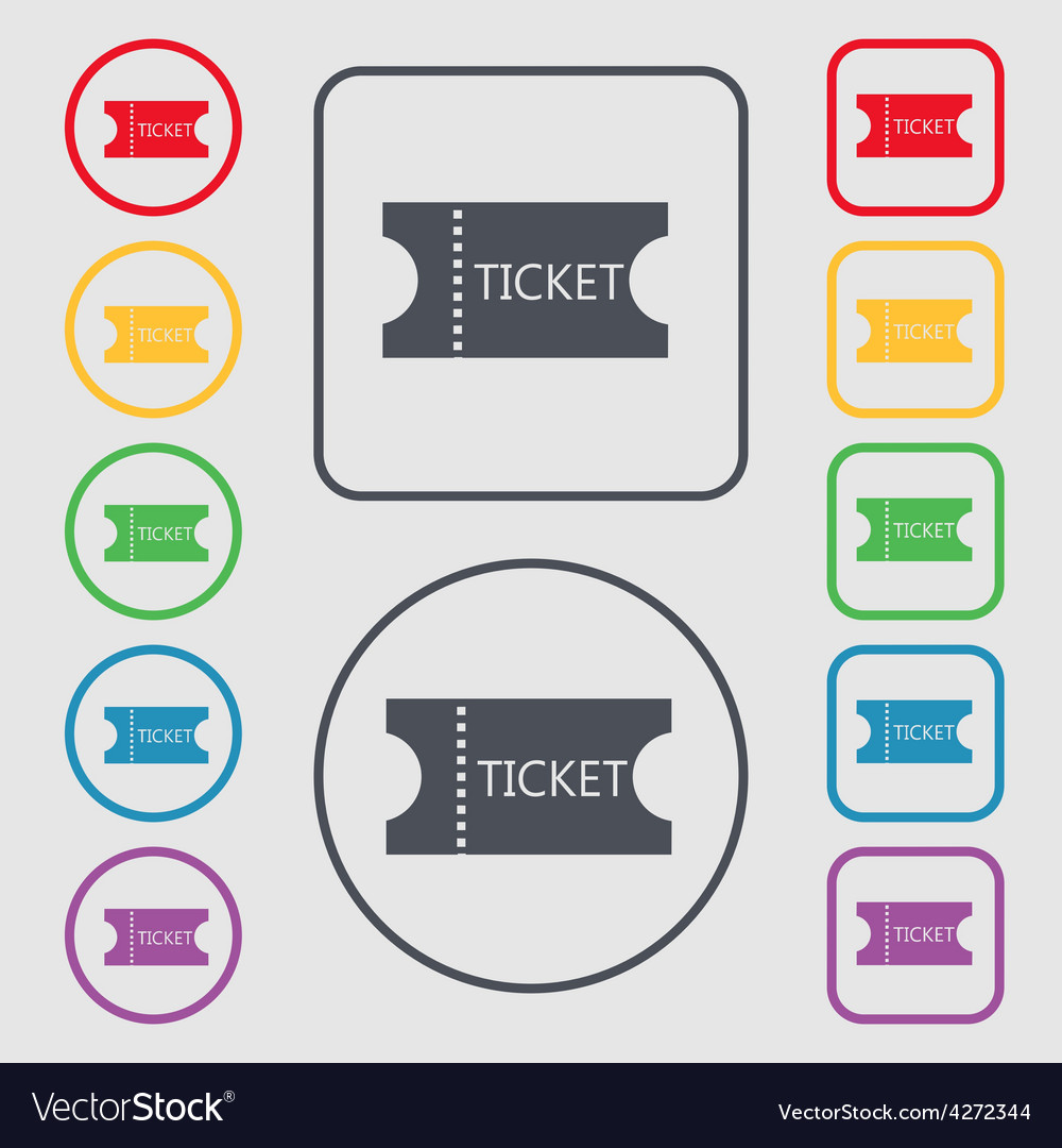 Ticket icon sign symbol on the round and square vector | Price: 1 Credit (USD $1)