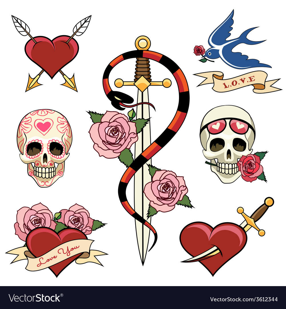 Various heart skull and dagger tattoo graphics vector | Price: 1 Credit (USD $1)