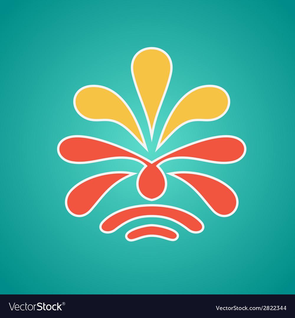 Vintage floral emblem design red vector   Price: 1 Credit (USD $1)