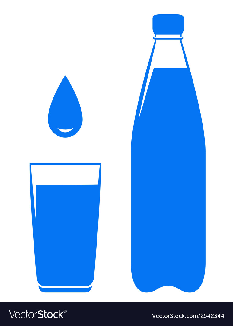 Water drop falling in glass with bottle vector | Price: 1 Credit (USD $1)