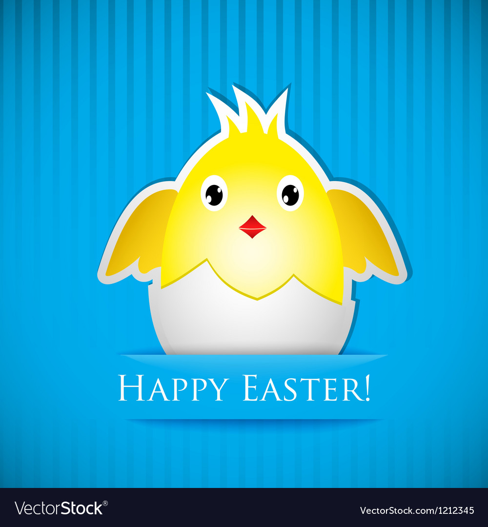 Easter card with chicken that hatched from egg vector | Price: 1 Credit (USD $1)