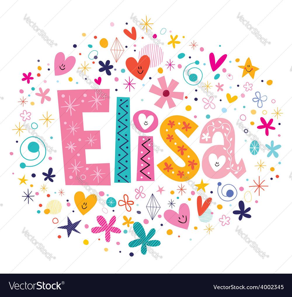 Elisa female name decorative lettering type design vector | Price: 1 Credit (USD $1)