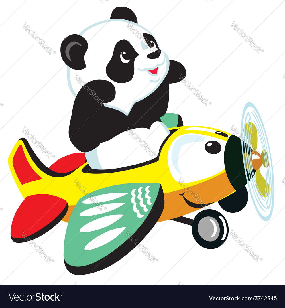 Panda flying with plane vector | Price: 1 Credit (USD $1)