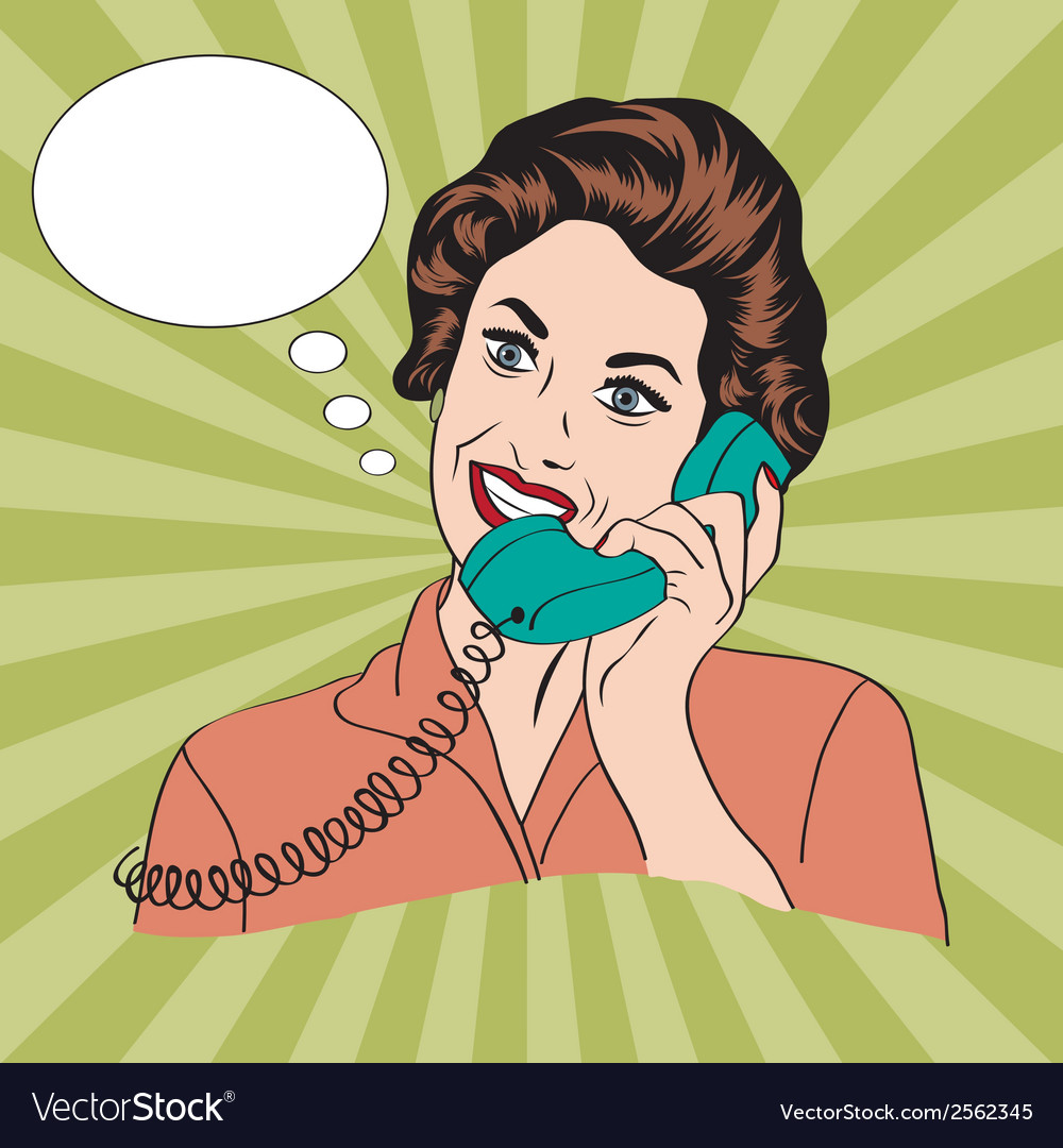 Popart comic retro woman talking by phone vector | Price: 1 Credit (USD $1)