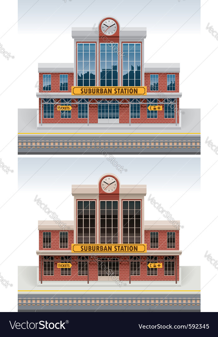Railway station icon vector | Price: 5 Credit (USD $5)