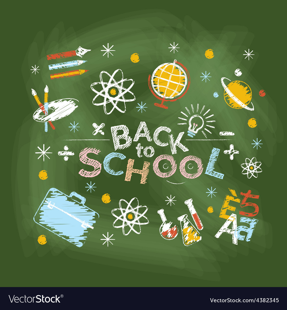 School education heading chalk style vector | Price: 1 Credit (USD $1)