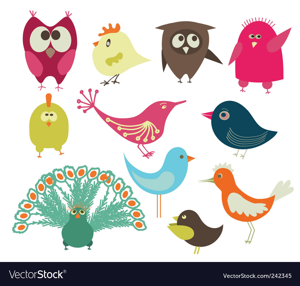 Set of abstract birds vector | Price: 1 Credit (USD $1)