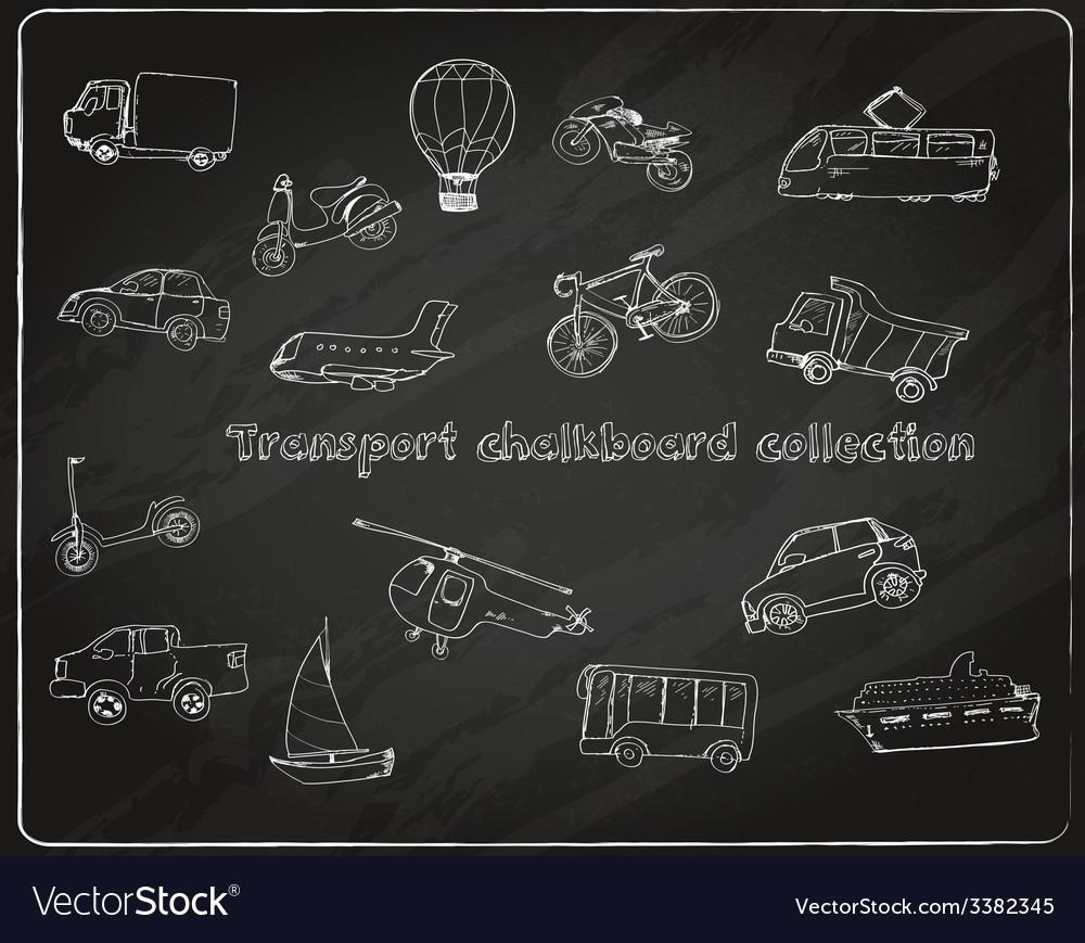 Transport doodle set chalkboard vector | Price: 1 Credit (USD $1)